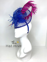 Load image into Gallery viewer, ROYAL BLUE & PINK PHEASANT FASCINATOR