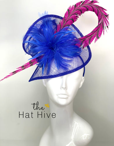 ROYAL BLUE & PINK PHEASANT FASCINATOR