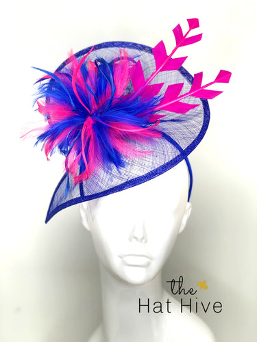ROYAL BLUE & PINK FASCINATOR