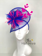 Load image into Gallery viewer, ROYAL BLUE & PINK FASCINATOR