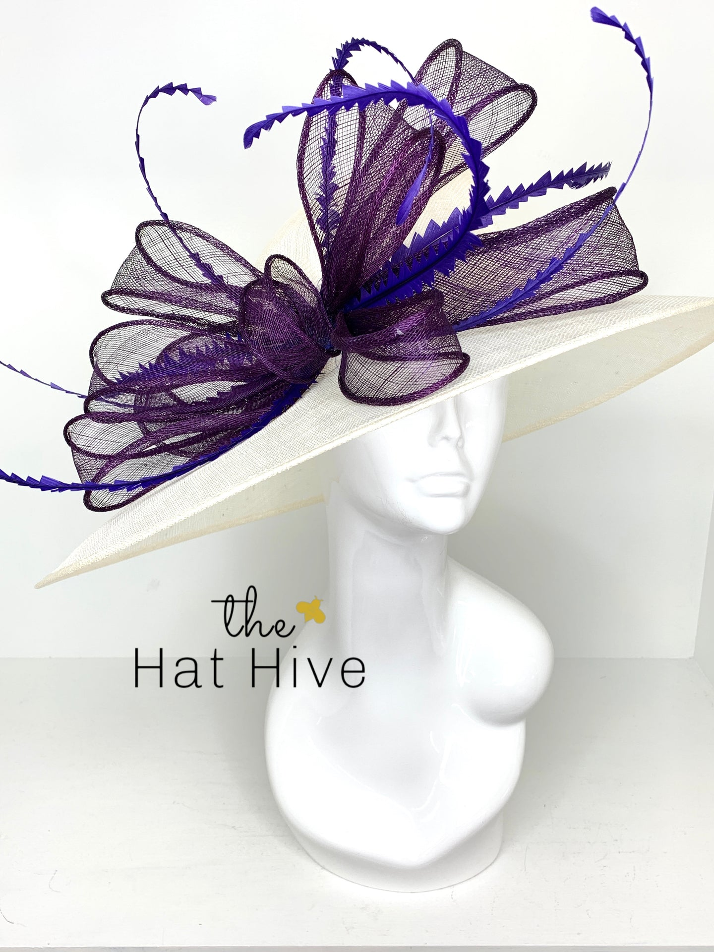 Ivory & Purple Wide Brim