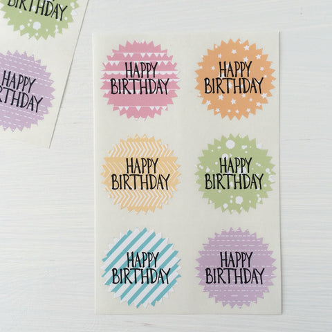 large starburst stickers - happy birthday