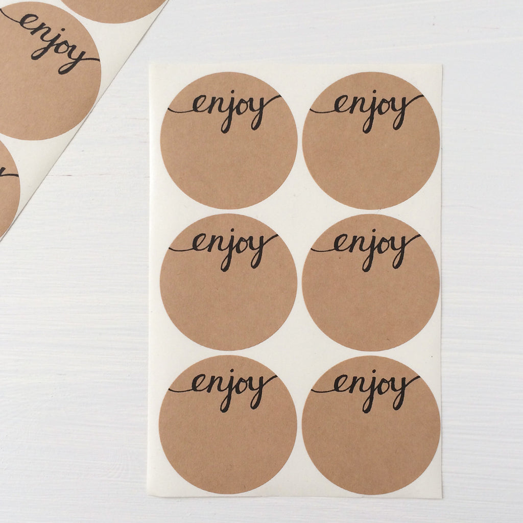 2 inch circle stickers - enjoy