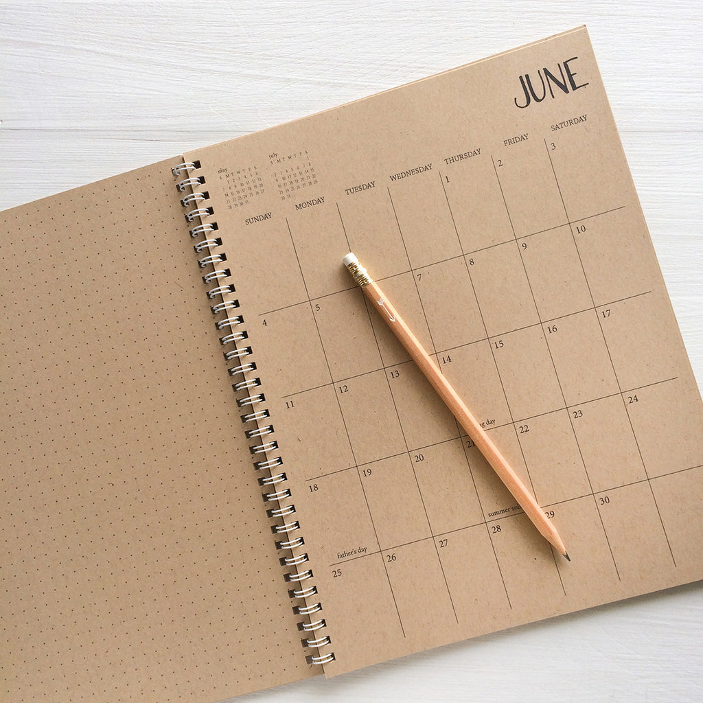 large kraft monthly spiral planner - start any month