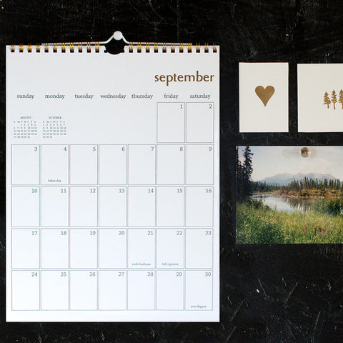 gold wall calendar - start any month