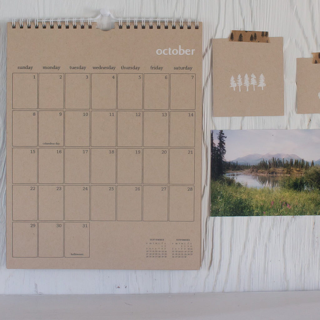 kraft wall calendar - start any month