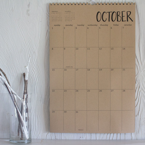 large 13 month kraft wall calendar - start any month