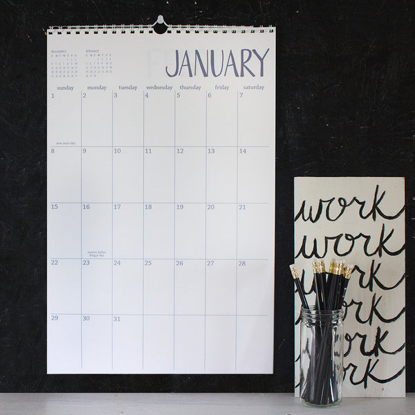 large 13 month white wall calendar - start any month