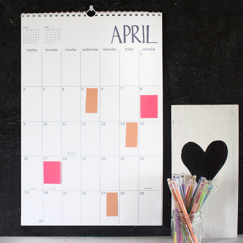 large white wall calendar - start any month