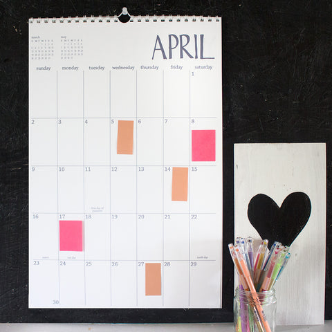large 16 month white wall calendar - start any month