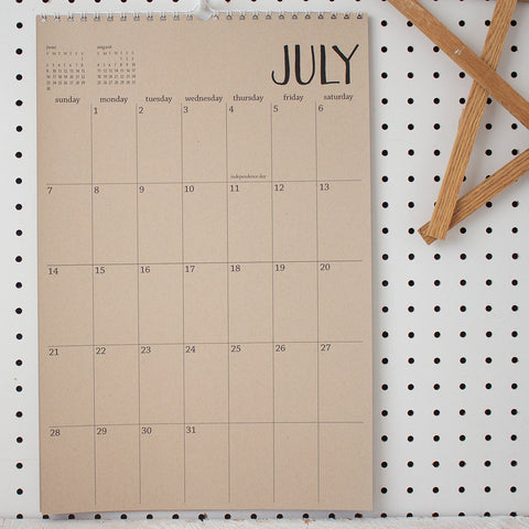 2019 large kraft wall calendar