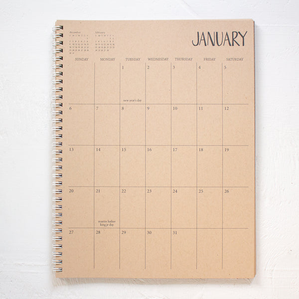 3 year large kraft monthly spiral planner - start any month