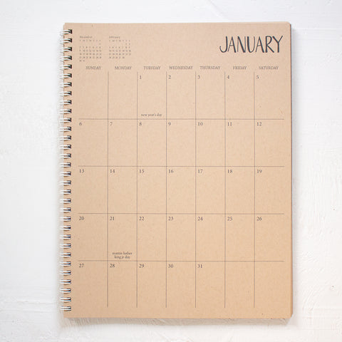 2 year large kraft monthly spiral planner - start any month