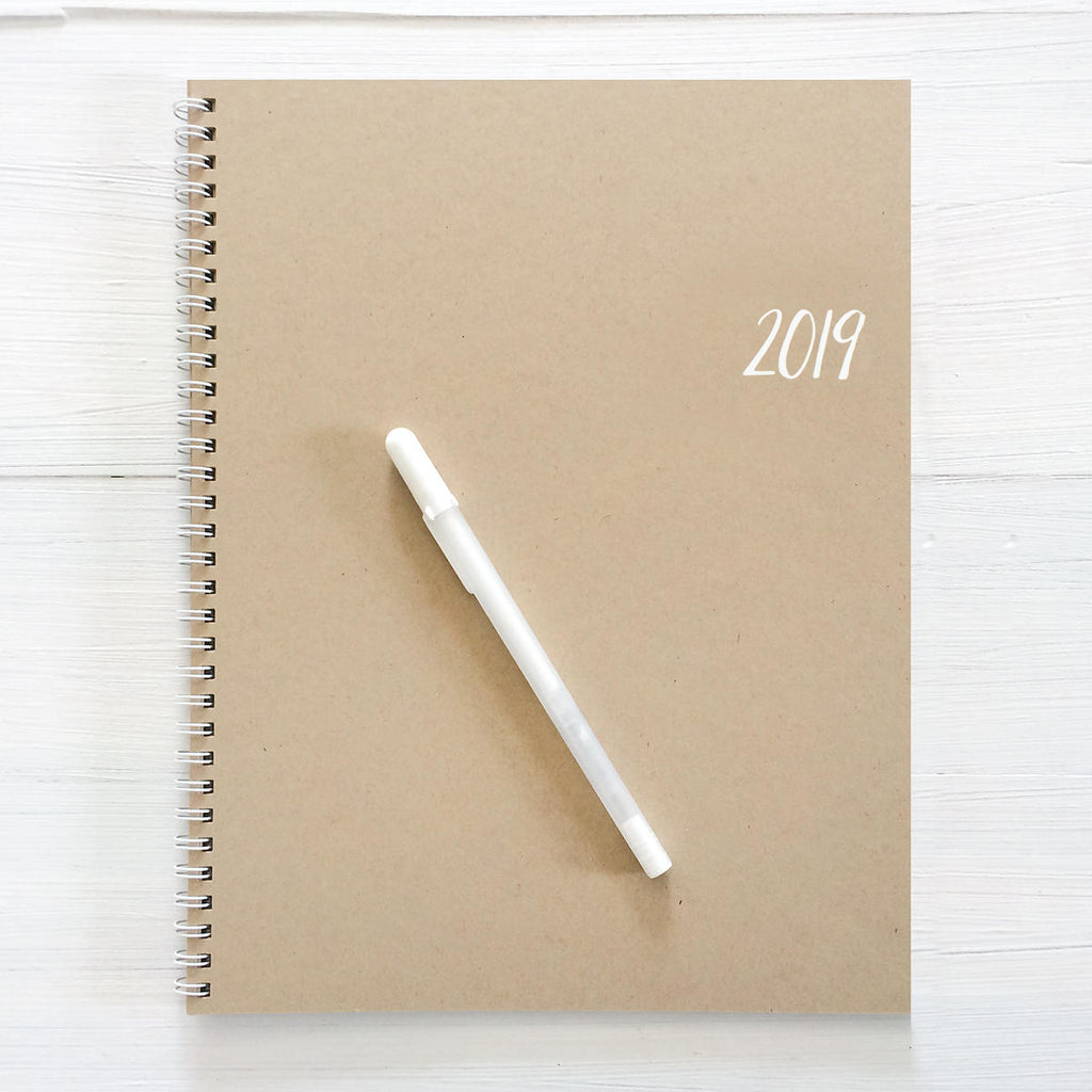 2019 large spiral kraft monthly planner