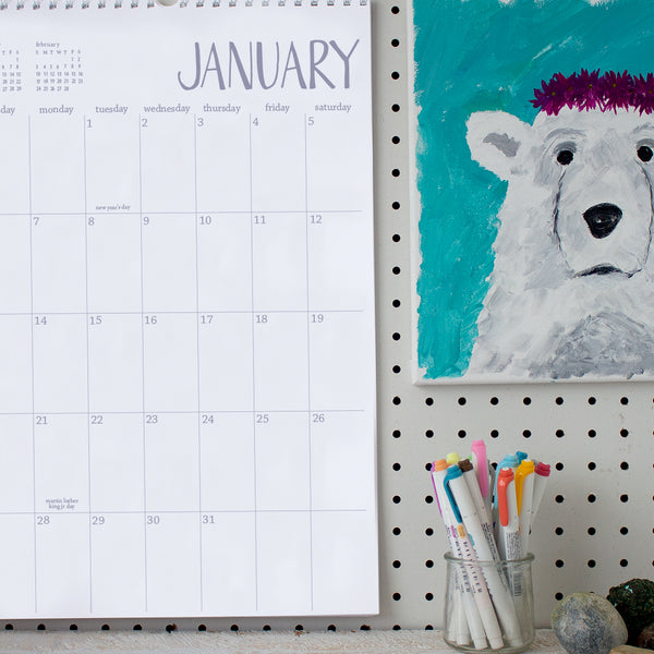 2019 large white wall calendar