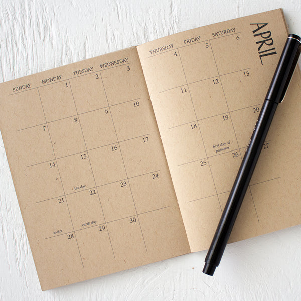 mini kraft monthly planner - start any month
