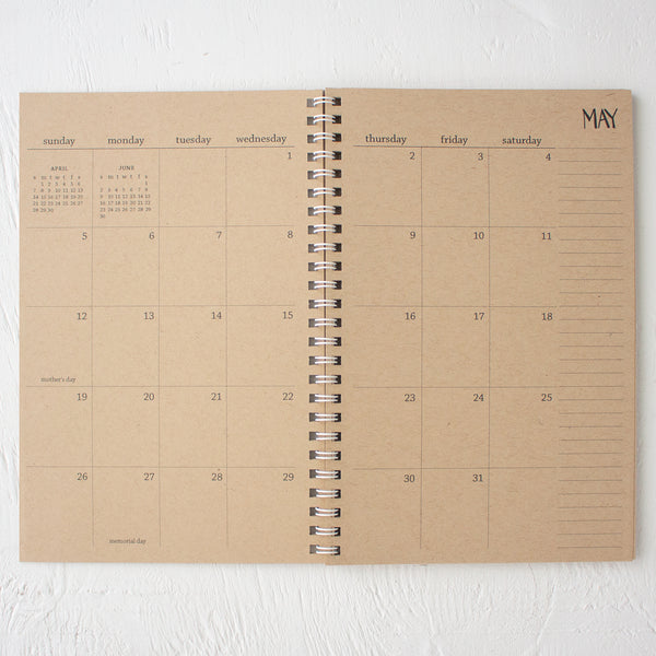 2 year small kraft monthly spiral planner | start any month