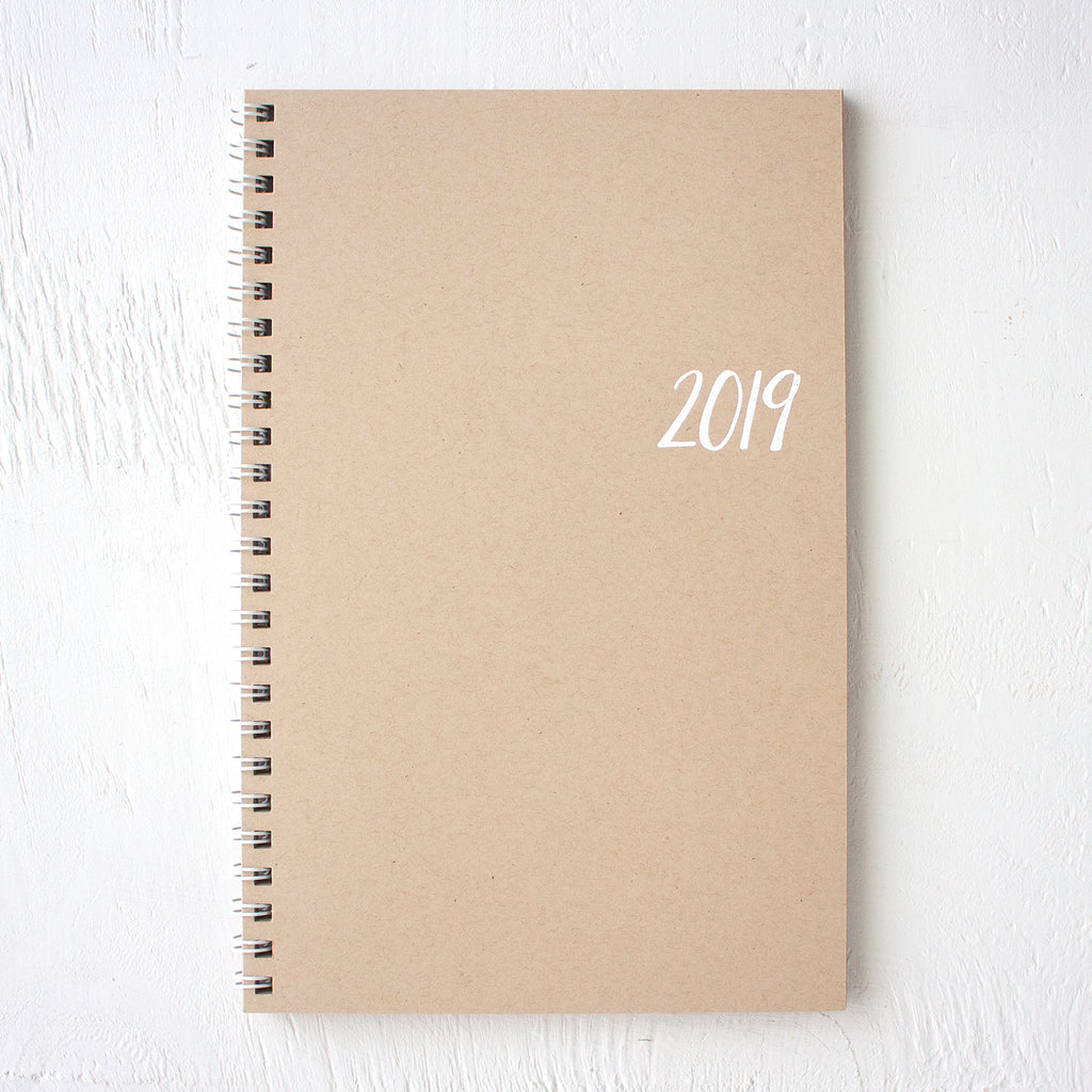 2019 small kraft monthly spiral planner