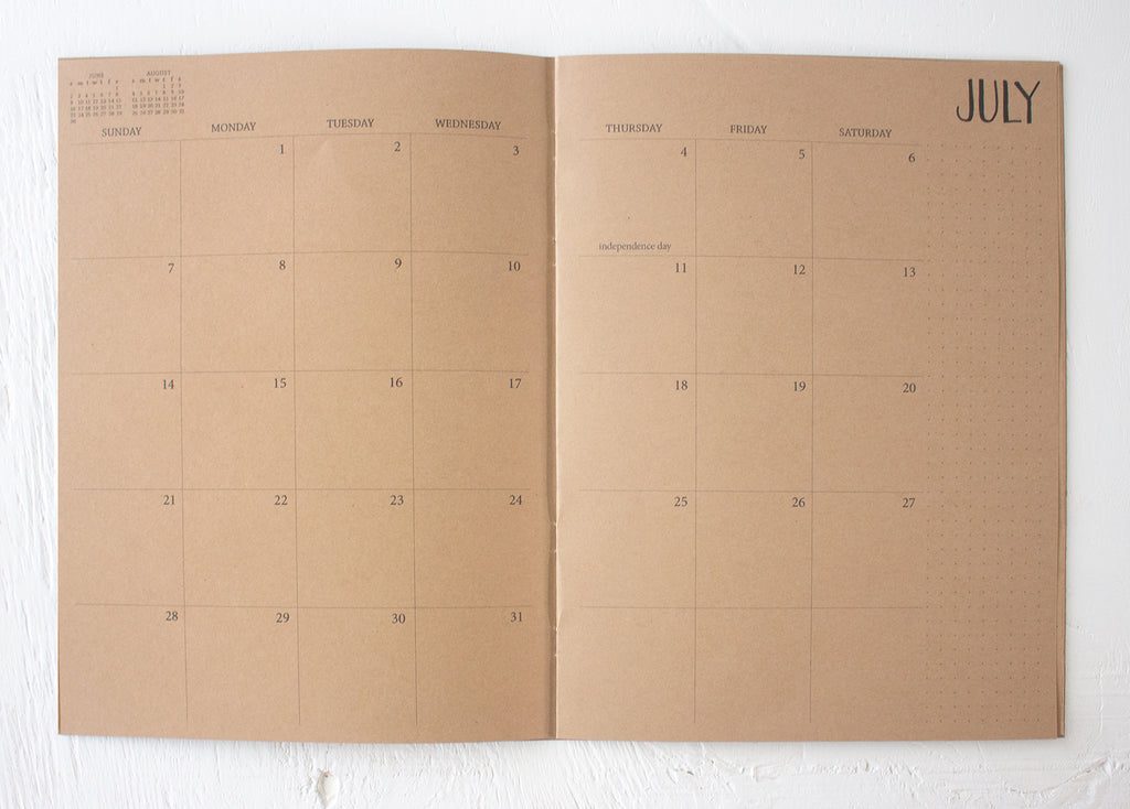 2020 large kraft monthly planner | 2 pages per month
