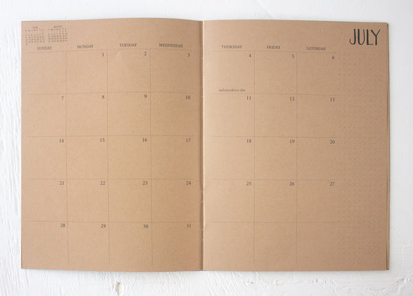 2019 large kraft monthly planner