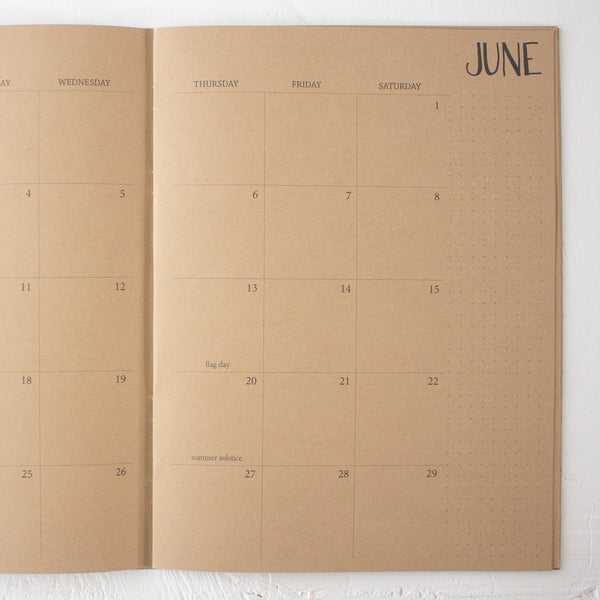 2019 / 2020 large kraft monthly academic planner | 2 pages per month