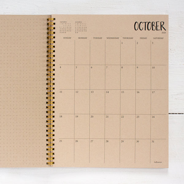 2019 / 2020 large kraft monthly spiral academic planner