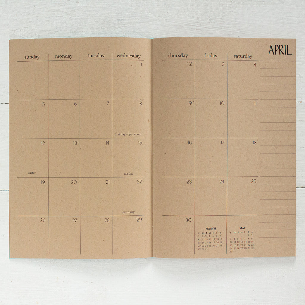 2019 / 2020 kraft monthly academic planner | 2 pages per month