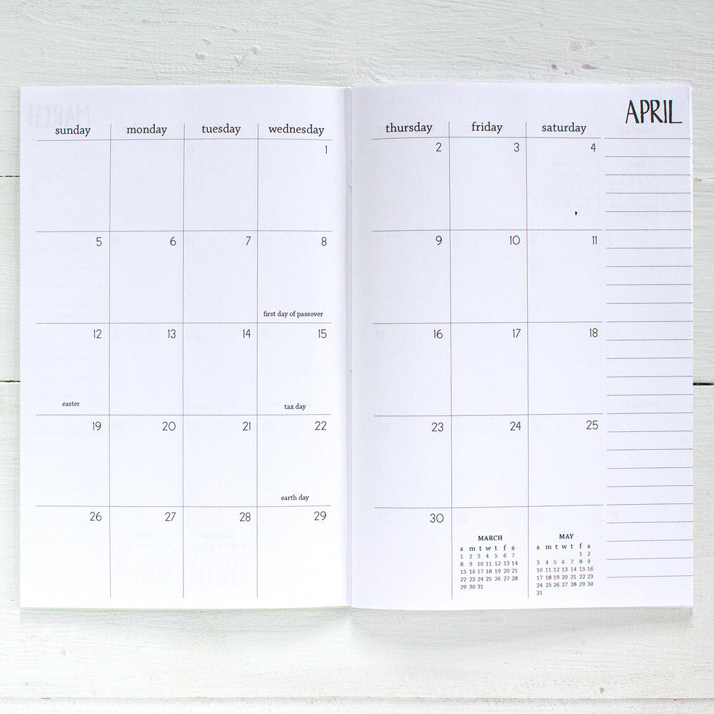 2019 / 2020 monthly academic planner | 2 pages per month