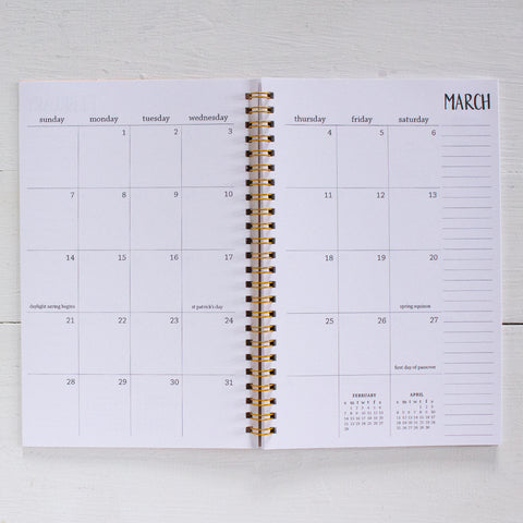 2019 / 2020 small monthly academic spiral planner