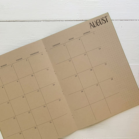 2021 large kraft monthly planner | 2 pages per month