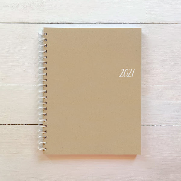 2021 large kraft monthly spiral planner | 2 pages per month