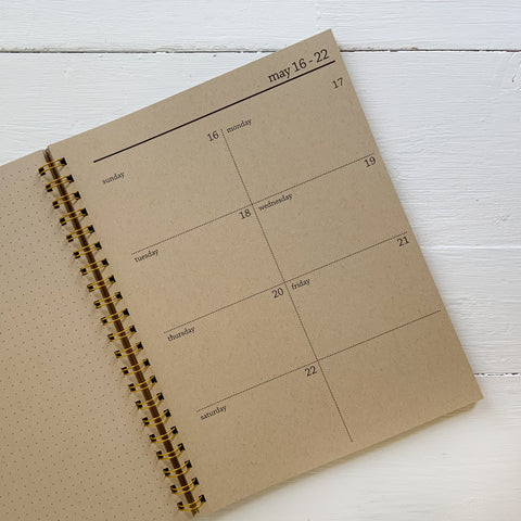 2021 large spiral weekly kraft planner