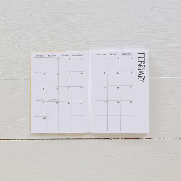 2021 mini monthly planner
