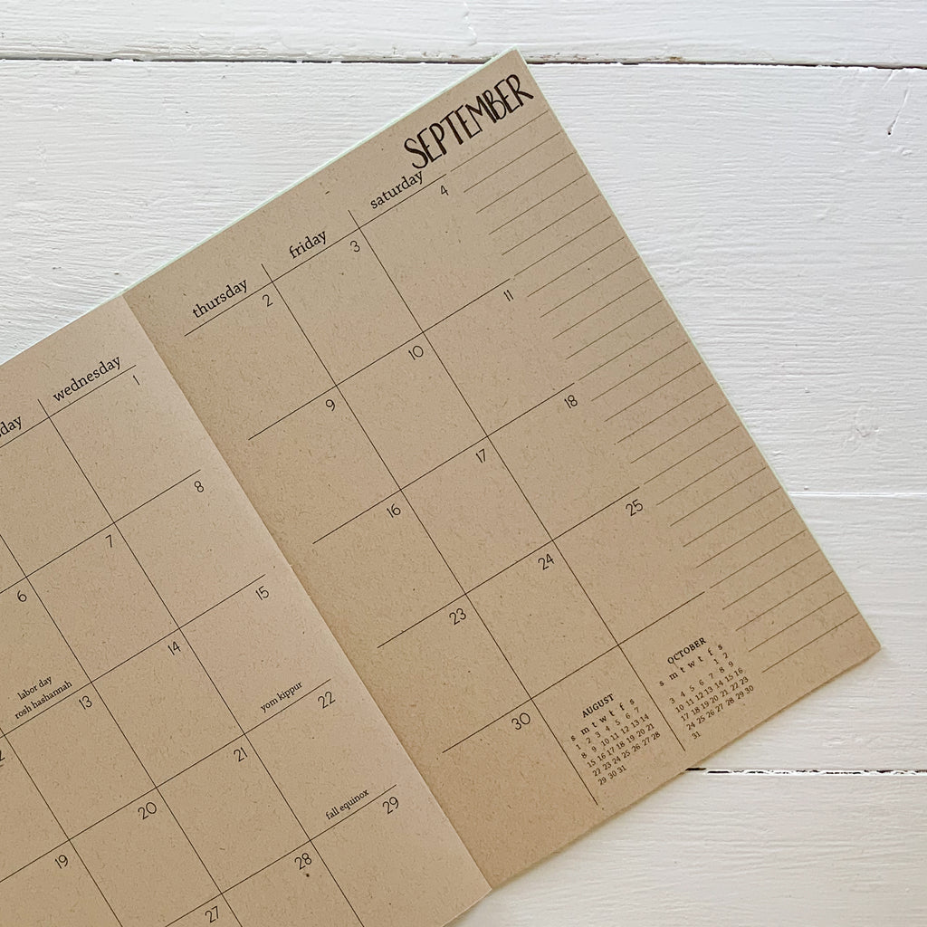 2021 kraft monthly planner | 2 pages per month