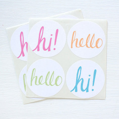 large round hello stickers - cheer