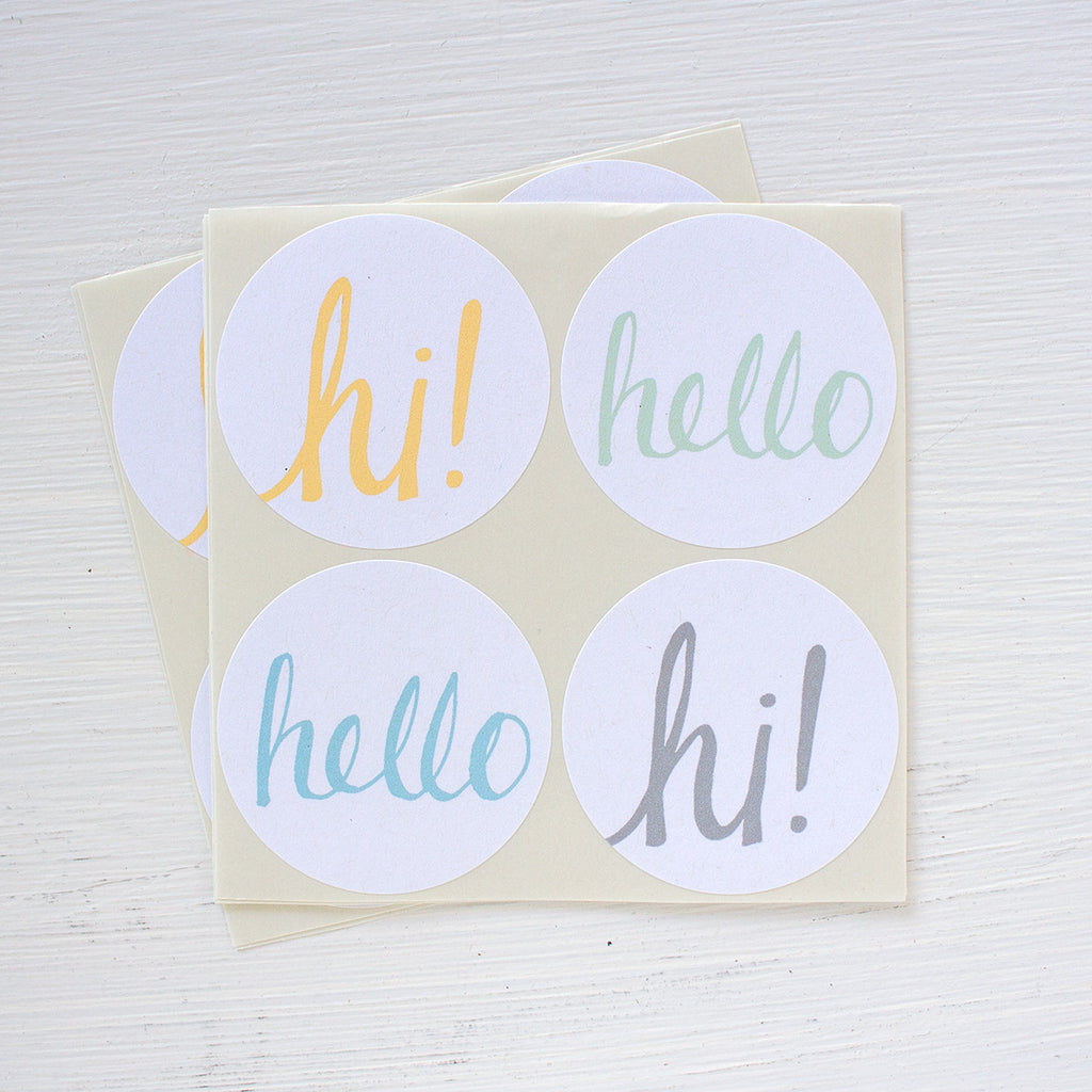large round hello stickers - mellow