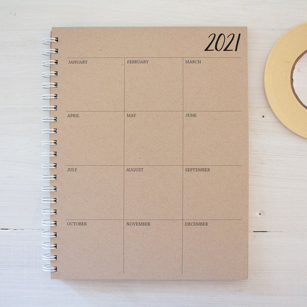 5 year large kraft monthly spiral planner - start any month