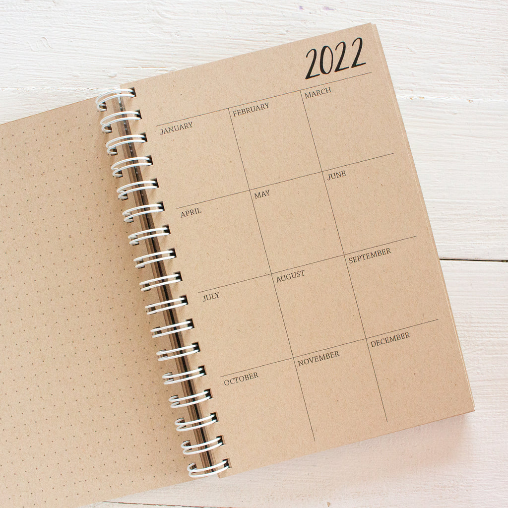 5 year small kraft monthly spiral planner - start any month