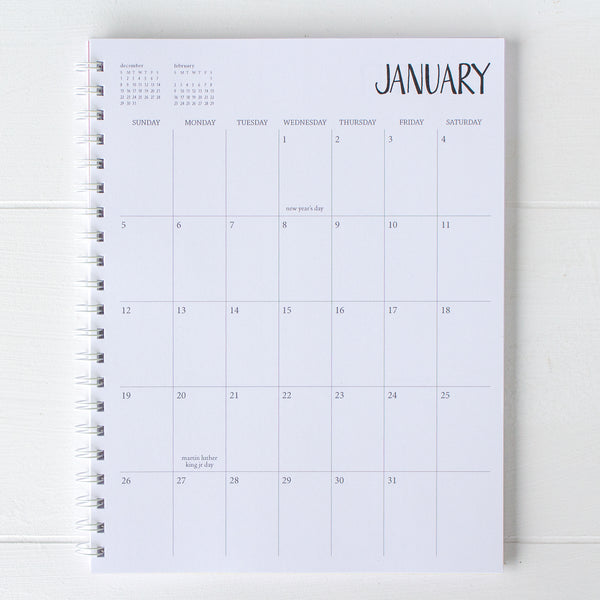 5 year large monthly spiral planner - start any month