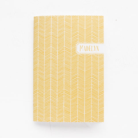 herringbone personalized notebook