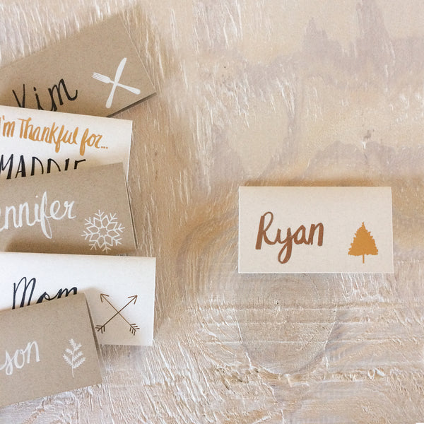 Evergreen leaf foil stamped place cards