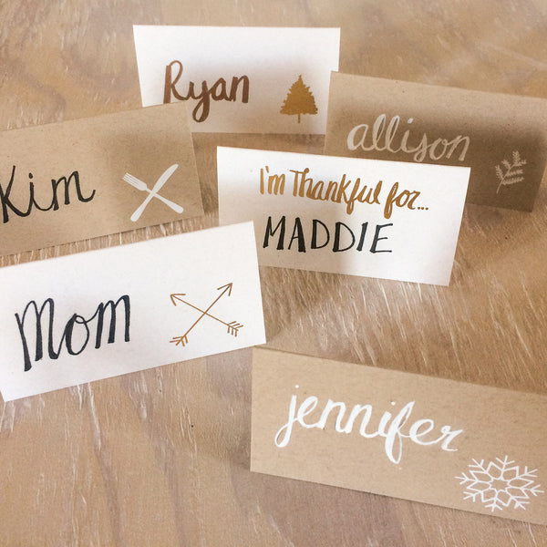 fork and knife foil stamped place cards