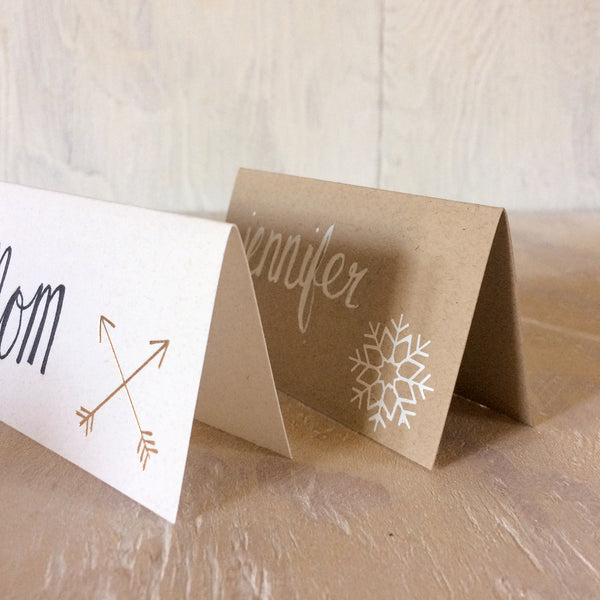 Christmas tree foil stamped place cards