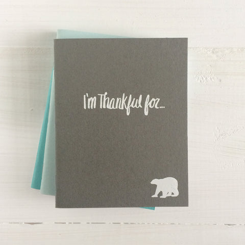 set of 3 polar bear i'm thankful for pressed pocket journal