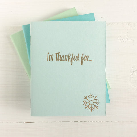set of 3 snowfake i'm thankful for pressed pocket journal