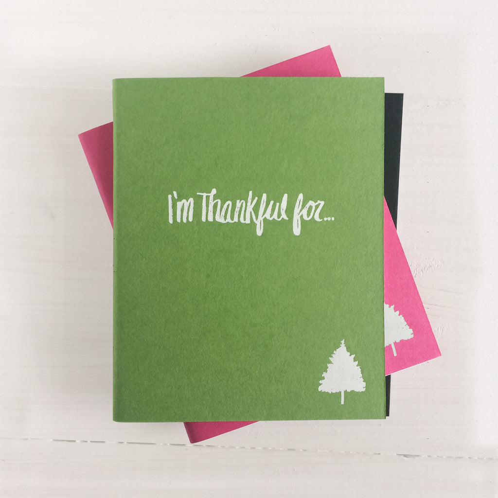 set of 3 christmas tree i'm thankful for pressed pocket journal