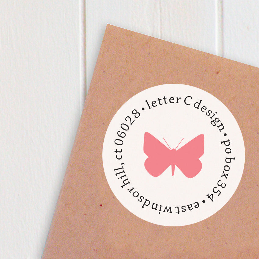 address labels butterflies letter c design