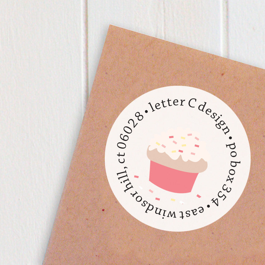 address labels cupcakes