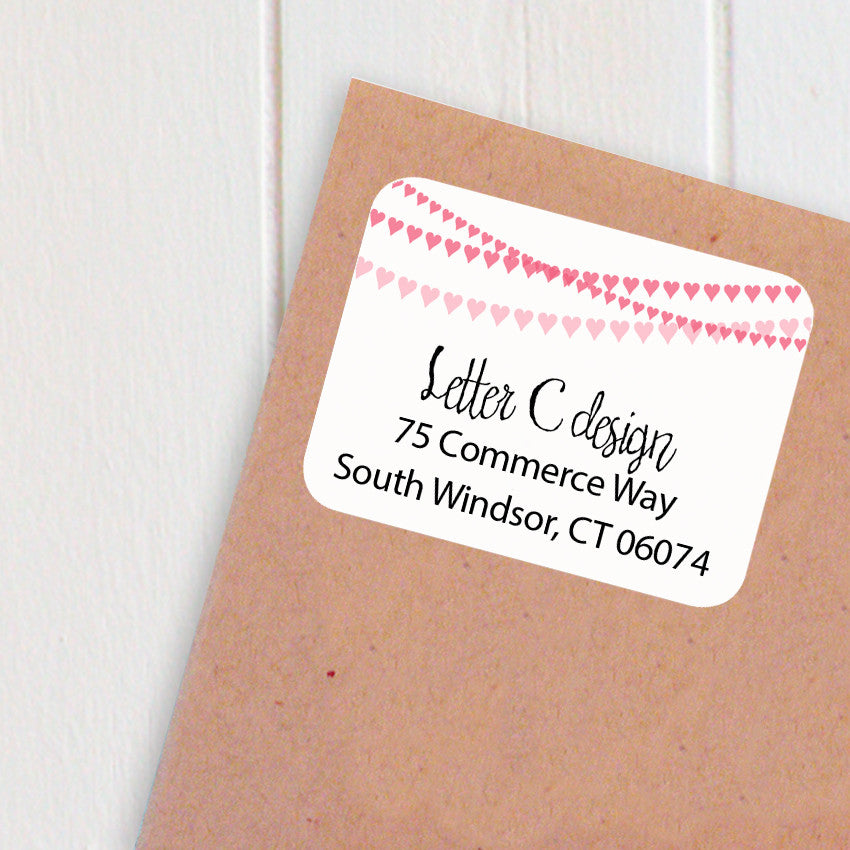 address labels heart banner