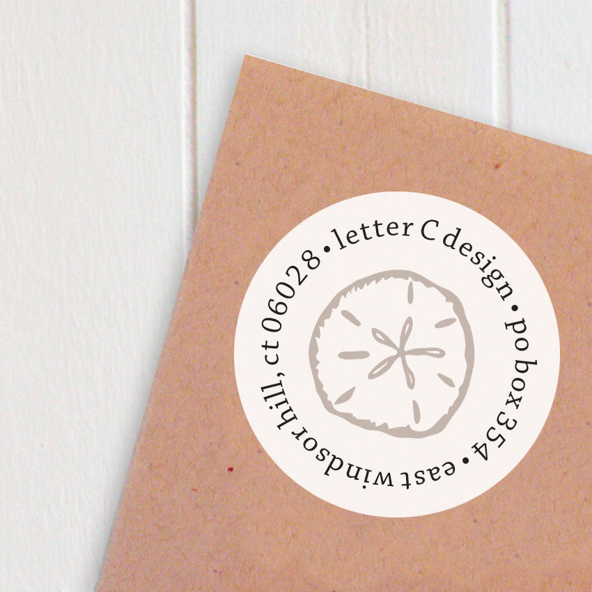 address labels starfish and sand dollar